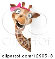 Clipart Of A 3d Female Giraffe Smiling Around A Sign Royalty Free Illustration by Julos