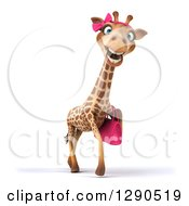 Clipart Of A 3d Female Giraffe Walking With A Purse Royalty Free Illustration by Julos