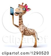 Clipart Of A 3d Female Giraffe Facing Left And Talking On A Smart Cell Phone Royalty Free Illustration by Julos