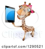 Clipart Of A 3d Female Giraffe Smiling And Holding Up A Smart Cell Phone Royalty Free Illustration by Julos