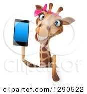 Clipart Of A 3d Female Giraffe Holding A Smart Cell Phone Over A Sign Royalty Free Illustration by Julos