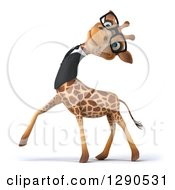 Clipart Of A 3d Happy Bespectacled Business Giraffe Tilting His Head Back Royalty Free Illustration