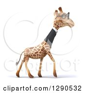 Clipart Of A 3d Happy Bespectacled Business Giraffe In Profile Walking To The Right Royalty Free Illustration
