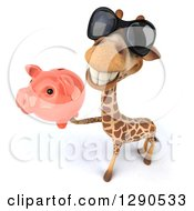 Clipart Of A 3d Happy Giraffe Wearing Sunglasses And Holding Up A Piggy Bank Royalty Free Illustration