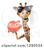 Clipart Of A 3d Happy Giraffe Wearing Sunglasses And Holding A Piggy Bank Around A Sign Royalty Free Illustration