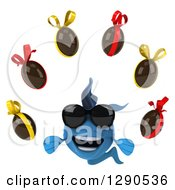 Clipart Of A 3d Happy Blue Fish Wearing Sunglasses And Juggling Chocolate Easter Eggs Royalty Free Illustration