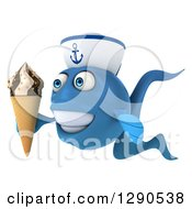 3d Happy Blue Sailor Fish Facing Left And Holding A Waffle Ice Cream Cone