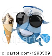 3d Happy Blue Sailor Fish Wearing Sunglasses And Holding A Waffle Ice Cream Cone