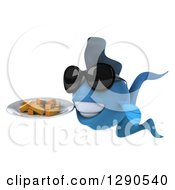 3d Happy Blue Fish Wearing Sunglasses Facing Left And Holding A Plate Of Fries