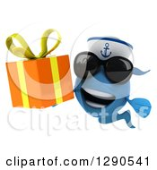 3d Happy Blue Sailor Fish Wearing Sunglasses And Holding An Orange Gift