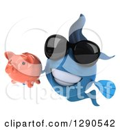 3d Blue Fish Wearing Sunglasses And Holding A Piggy Bank