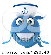 Clipart Of A 3d Smiling Happy Blue Sailor Fish Royalty Free Illustration