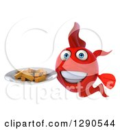 3d Happy Red Fish Holding A Plate Of French Fries