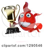 3d Happy Red Fish Holding A Trophy
