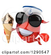 3d Happy Red Fish Sailor Wearing Sunglasses And Holding A Waffle Ice Cream Cone