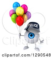 Clipart Of A 3d Blue Police Eyeball Character Shrugging And Holding Party Balloons Royalty Free Illustration