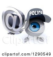 Clipart Of A 3d Blue Police Eyeball Character Holding Up An Email Arobase At Symbol Royalty Free Illustration