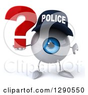 Clipart Of A 3d Blue Police Eyeball Character Holding A Thumb Down And A Question Mark Royalty Free Illustration