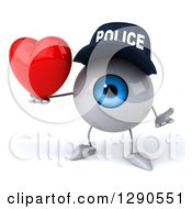Clipart Of A 3d Blue Police Eyeball Character Shrugging And Holding A Heart Royalty Free Illustration