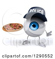 Clipart Of A 3d Blue Police Eyeball Character Shrugging And Holding A Pizza Royalty Free Illustration