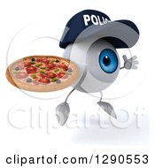 Clipart Of A 3d Blue Police Eyeball Character Facing Slightly Right Jumping And Holding A Pizza Royalty Free Illustration