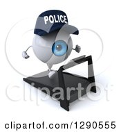 Clipart Of A 3d Blue Police Eyeball Character Facing Slightly Right And Running On A Treadmill Royalty Free Illustration