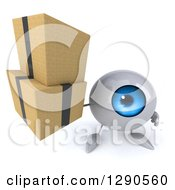 Clipart Of A 3d Blue Eyeball Character Holding Up Boxes Royalty Free Illustration