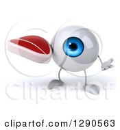 Clipart Of A 3d Blue Eyeball Character Shrugging And Holding A Beef Steak Royalty Free Illustration
