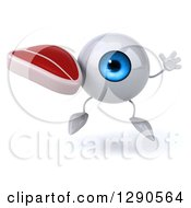Clipart Of A 3d Blue Eyeball Character Jumping And Holding A Beef Steak Royalty Free Illustration