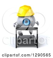 Clipart Of A 3d Blue Eyeball Contractor Character Running On A Treadmill Royalty Free Illustration
