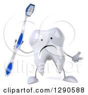 Clipart Of A 3d Unhappy Tooth Character Shrugging And Holding A Brush Royalty Free Illustration
