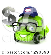 Clipart Of A 3d Bespectacled Lime Green Compact Car Mechanic Holding A Thumb Up And Dollar Symbol Royalty Free Illustration by Julos