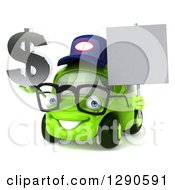 Clipart Of A 3d Bespectacled Lime Green Compact Car Mechanic Holding A Blank Sign And Dollar Symbol Royalty Free Illustration by Julos