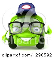 Clipart Of A 3d Bespectacled Lime Green Compact Car Mechanic Holding A Thumb Up Royalty Free Illustration by Julos