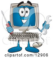 Clipart Picture Of A Desktop Computer Mascot Cartoon Character Holding A Wrench And Screwdriver by Toons4Biz