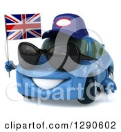 Clipart Of A 3d Blue Mechanic Porsche Car Wearing Sunglasses Facing Slightly Left And Holding A British Flag Royalty Free Illustration
