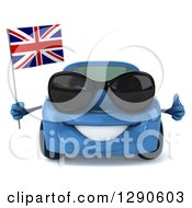 Clipart Of A 3d Blue Porsche Car Wearing Sunglasses Holding A Thumb Up And A British Flag Royalty Free Illustration