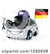 Clipart Of A 3d White Mechanic Porsche Car Facing Slightly Left Wearing Sunglasses And Holding A Wrench And German Flag Royalty Free Illustration