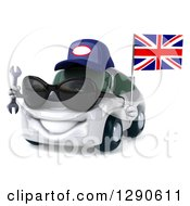 Clipart Of A 3d White Mechanic Porsche Car Wearing Sunglasses Facing Slightly Left And Holding A Wrench And British Flag Royalty Free Illustration