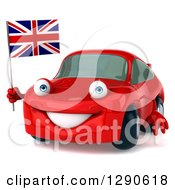Clipart Of A 3d Red Porsche Car Facing Slightly Left And Holding A British Flag Royalty Free Illustration