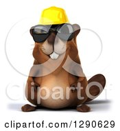 Clipart Of A 3d Construction Beaver Wearing Sunglasses Royalty Free Illustration