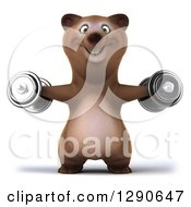 Clipart Of A 3d Brown Bear Working Out And Doing Lateral Raises With Dumbbells Royalty Free Illustration by Julos