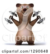 Clipart Of A 3d Brown Bear Working Out And Doing Shoulder Presses With Dumbbells Royalty Free Illustration