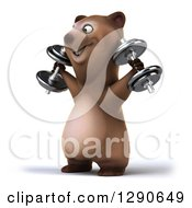 Clipart Of A 3d Brown Bear Facing Left Working Out And Doing Shoulder Presses With Dumbbells Royalty Free Illustration