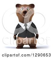 Clipart Of A 3d Brown Business Bear Royalty Free Illustration by Julos
