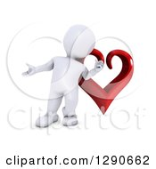 3d White Man Presenting In Front Of A Giant Red Valentines Day Love Heart