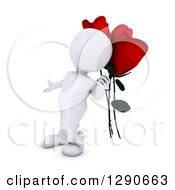 3d White Man Gesturing To Giant Red Valentines Day Roses