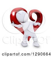 3d White Man Hugging A Giant Red Valentines Day Love Heart