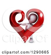 Clipart Of A 3d White Man Holding A Giant Red Valentines Day Love Heart Royalty Free Illustration