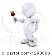3d White Man Holding Out A Red Valentines Day Rose With A Ring Behind His Back